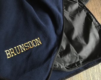 Personalized Polar Fleece and Polyester Picnic Blanket- Monogrammed Outdoor Blanlet-  Embroidered Tailgating Blanket