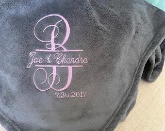 Monogram Plush Blanket- Embroidered Wedding Throw- Personalized Plush Blanket