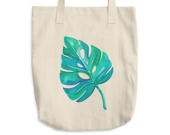 Monstera Leaf Cotton Tote Bag *Ship to USA Only*