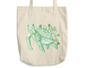 Green Turtle Succulent Cotton Tote Bag *Ship to USA Only*