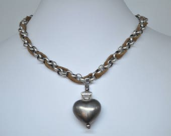 Choker- Gray Heart with Brown Leather