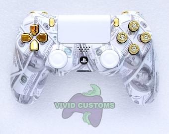 Custom PS4 Controller Cash Money Bullet Mod Sony PlayStation 4 Pro Slim V2 Dualshock Wireless Remote Gamepad