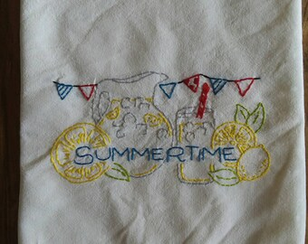 Finished Handmade Summertime Lemonade Cotton Floursack Kitchen Dishtowel Hand Embroidery Farmhouse Country Decor