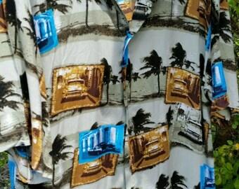 38bf929573c68 Mens Vintage Hawaiian Summer Shirt Retro Cars Rockabilly Large Quirky