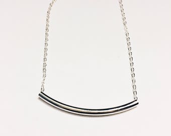 The Julia Silver Tube Necklace