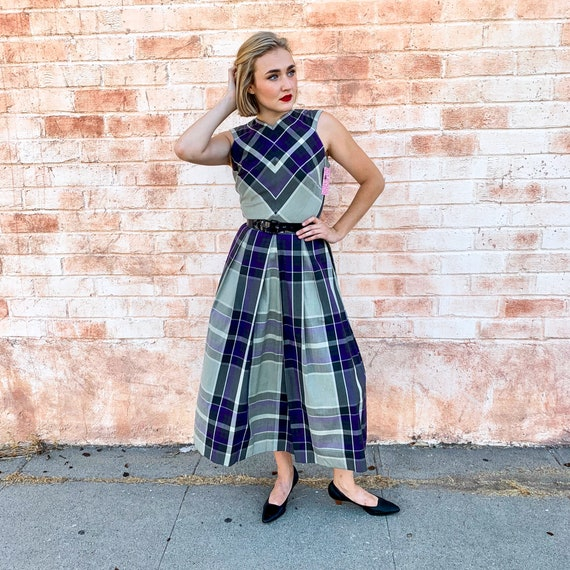 1950's Claire McCardell Plaid Dress with Belt