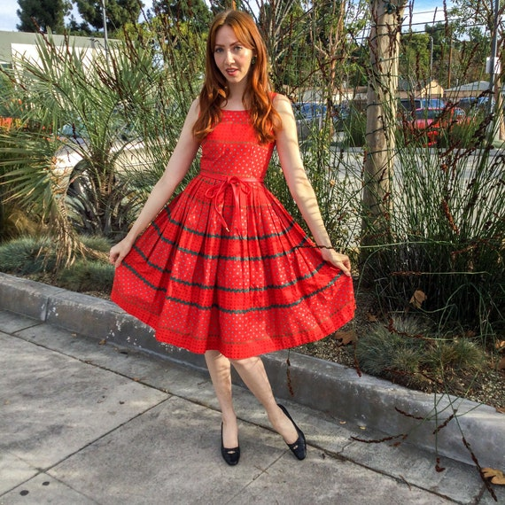 1950's Red Cotton Ric Rac Fit and Flare Day Dress