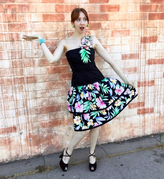 1980's Tropical Victor Costa Cocktail Dress