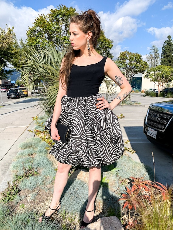 1960's Zebra Bubble Skirt Cocktail Dress