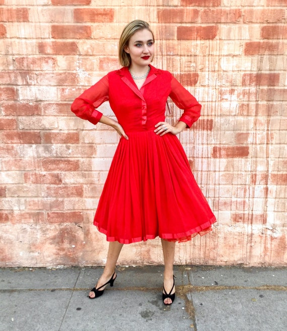 1950's Red Long Sleeved Chiffon Cocktail Dress