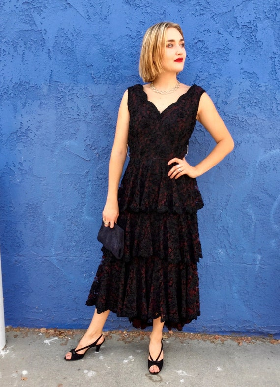 1950's Black Ruffle Soutache Lace Cocktail Dress
