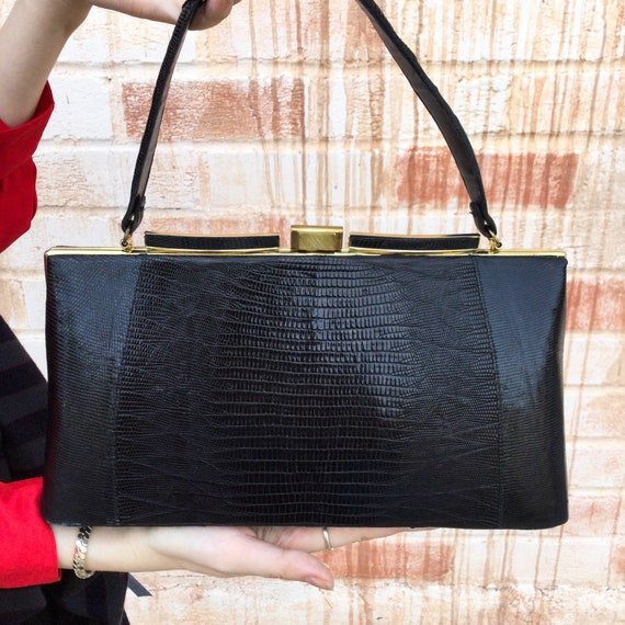 1950's Black and Gold Leather Shoulder Purse