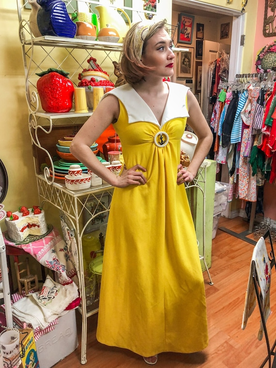 1970's Yellow Knit Maxi Dress