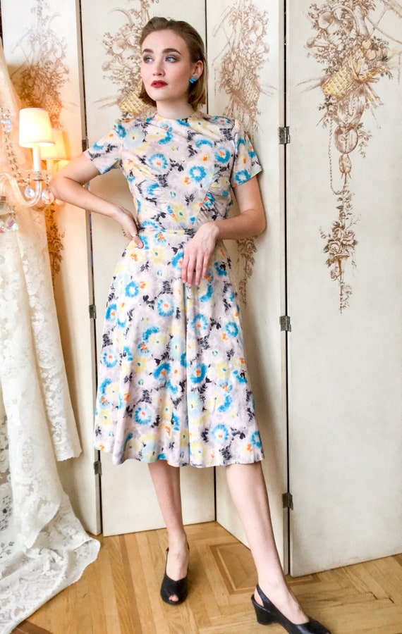 1940's Rayon Blend Floral Day Dress