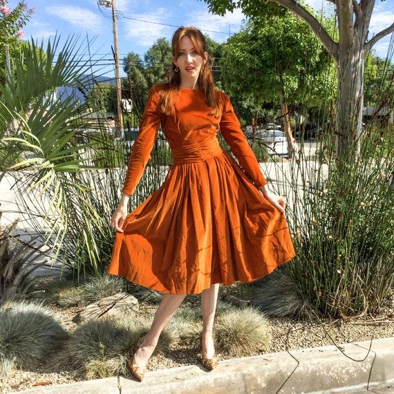 1950's Rust Velveteen Cocktail Dress