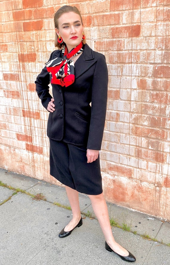 1970's Lilli Ann Black Knit Suit