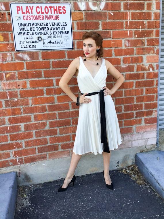 Diane von Furstenberg Cream and Black Wrap Dress