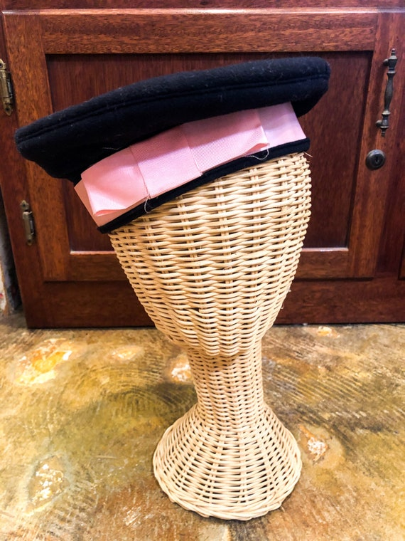 1940's Pink Bow WWII Sailor Hat