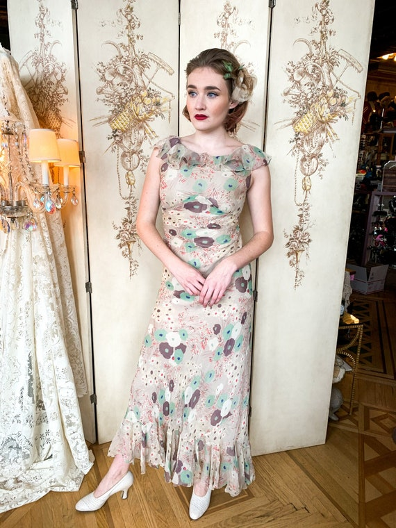 1930's Bias Cut Floral Chiffon Garden Party Dress