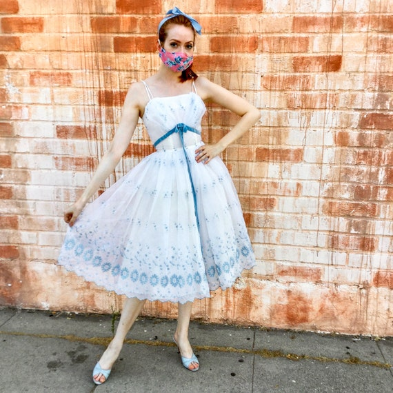 1950's White and Blue Prom Dress - image 2