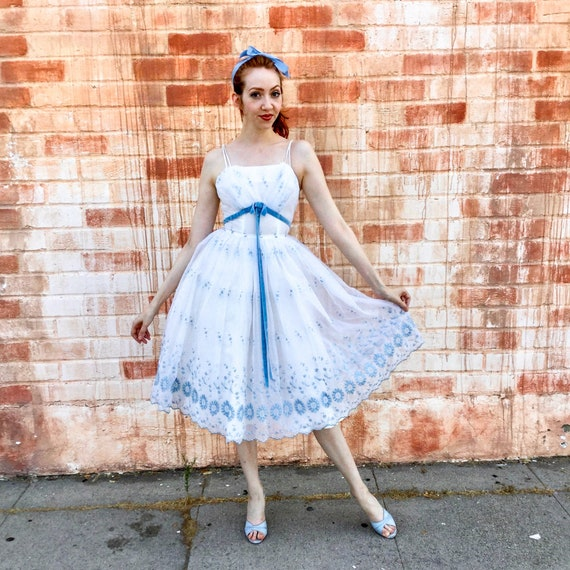 1950's White and Blue Prom Dress - image 1