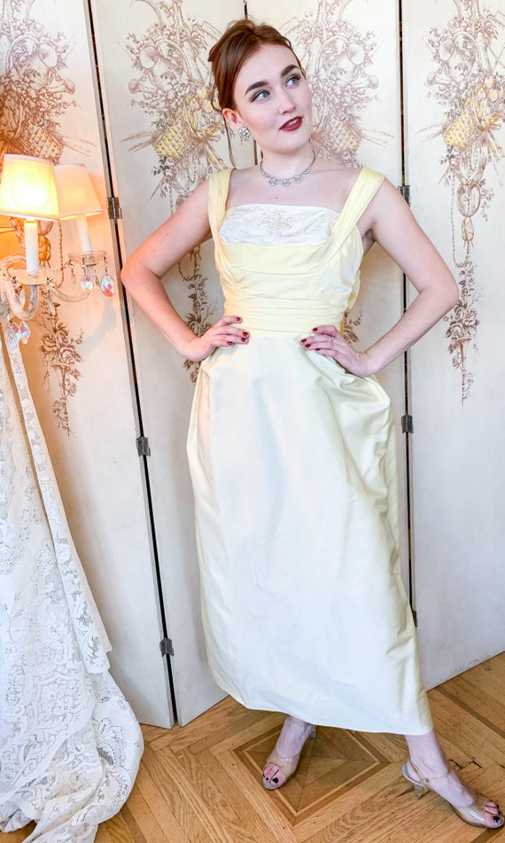 1950's Pale Yellow Evening Gown