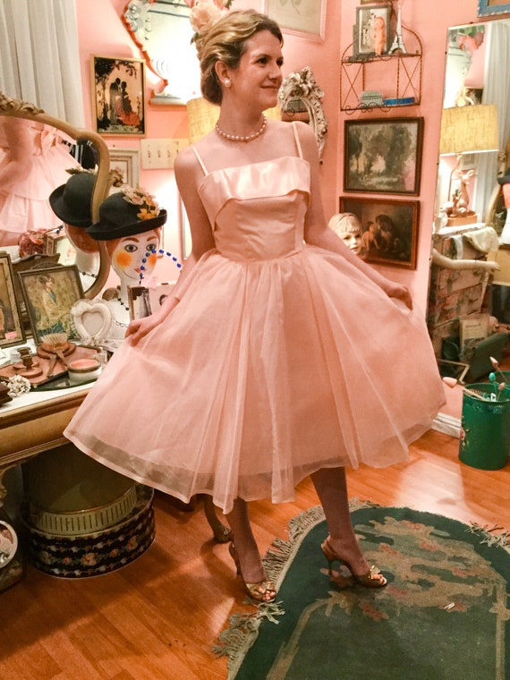 1950's Pink Party Prom Dress - image 1