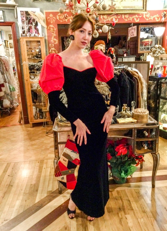 1980's Black Velvet Gown with Red Puff Sleeves