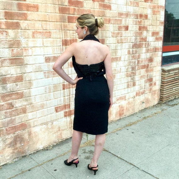 1950's Sexy Black Sequin Halter Dress - image 3