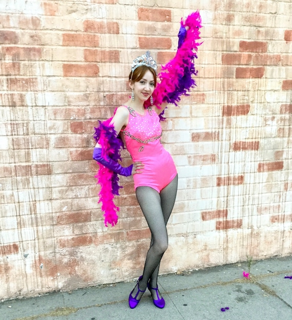 1960's Pink Leotard Show Girl Costume