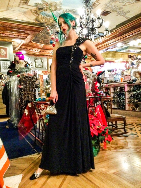 2000's Beaded One Shoulder Black Evening Gown