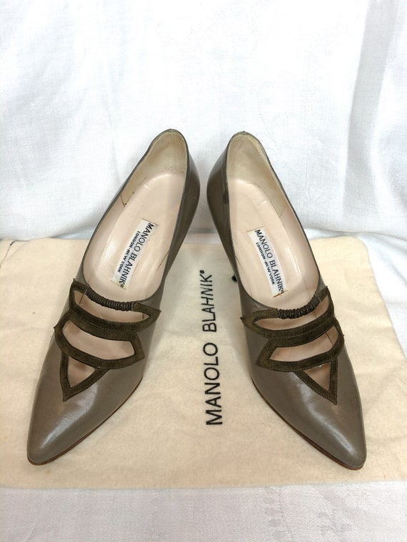 1980's Taupe Leather & Suede Manolo Blahnik Pumps