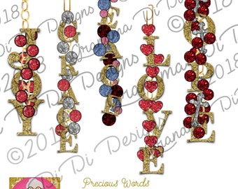 Set of 5 Precious Words Digital Planner Charms for GoodNotes, Hope, Love, Joy, Peace, Grace