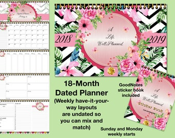 18-Month Dated* Digital Planner, Landscape, a Life Well-Planned for GoodNotes, Have it Your Way,
