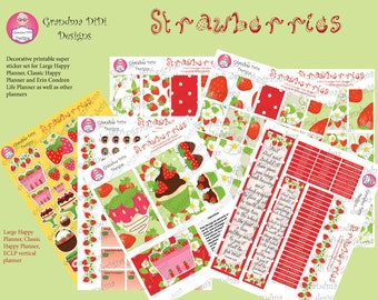 Top seller!Strawberries Printable Super Sticker Kit for Large and Classic Happy Planners and Erin Condren Life Planner