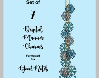 Set of 7 Sparkly Fun Digital Planner Clips for GoodNotes-based Planners, Apples, Hearts, Shamrocks, Eggs, Jewel