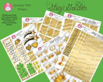 Top seller! Stay Golden printable super sticker set for large and classic Happy Planners, Erin Condren vertical planner