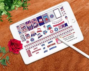Happy Birthday America sticker set for DIGITAL planners, formatted for DIGITAL planners, patriotic owls, GoodNotes