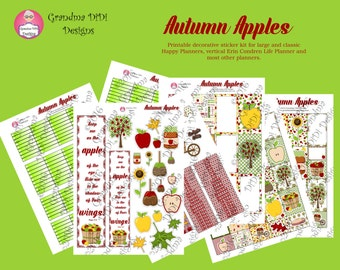 Top Seller! Autumn Apples Printable Sticker Set for Large, Classic Happy Planners, Erin Ccndren Vertical, Most Other Planners