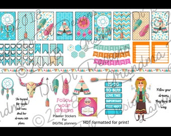 Follow Your Dreams DIGITAL planner stickers for GoodNotes, boho, ethnic, dreamcatchers, feathers, GoodNotes sticker book included