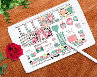 Be Mine Valentine DIGITAL planner stickers for GoodNotes, formatted for DIGITAL planners,  hearts