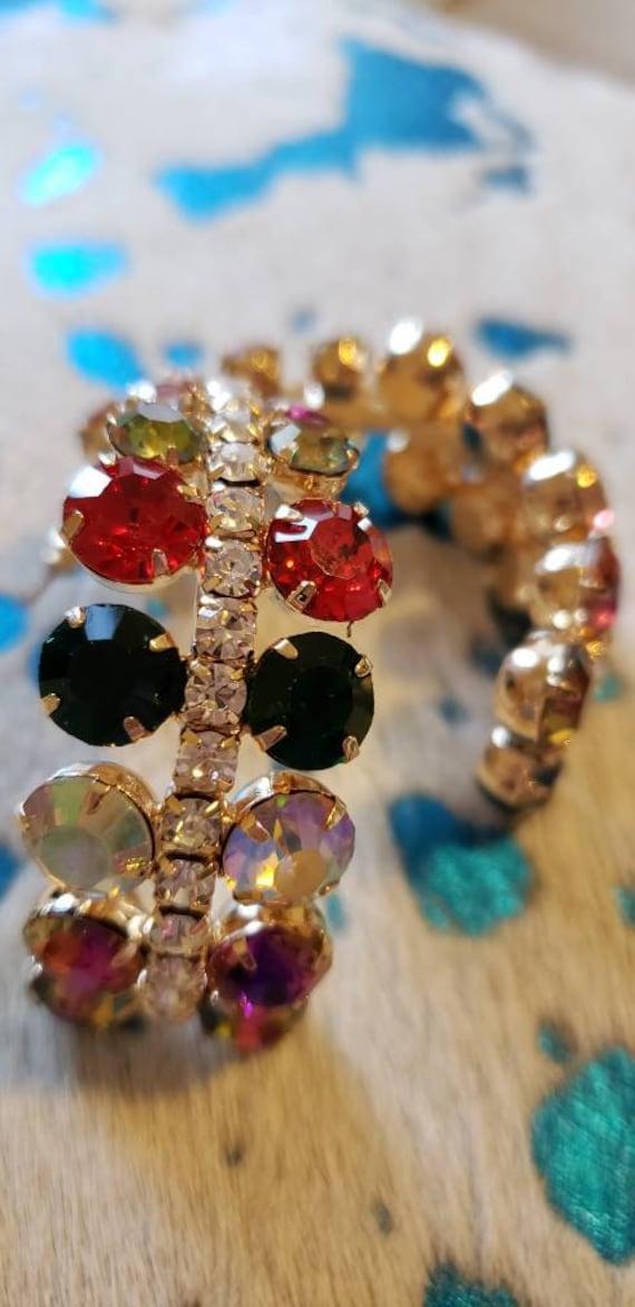 Vintage European multi color rhinestone Earrings