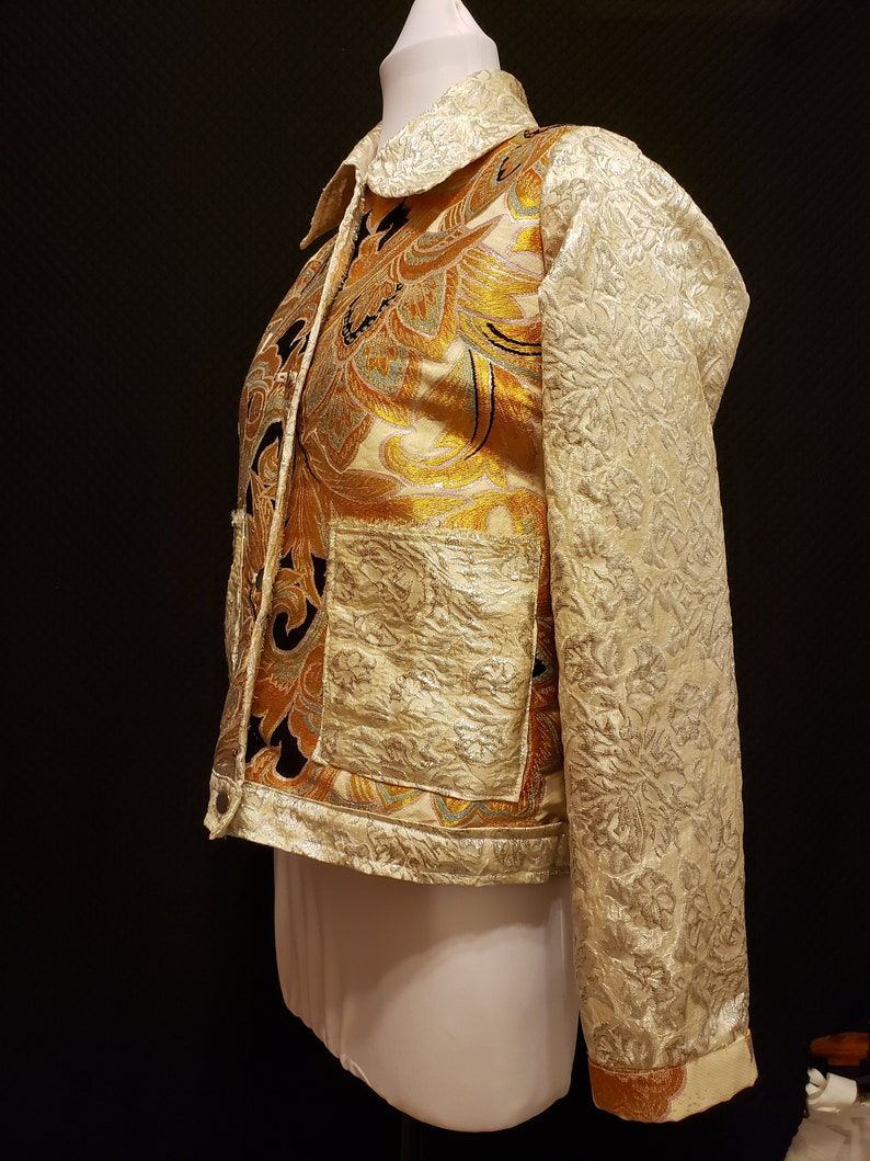 Japanese kimono Obi silk Jacket size sm