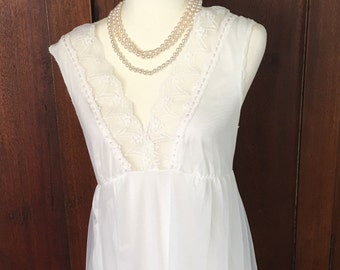 M/Double Nylon/White Nightgown/Medium