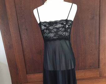 M / Victoria's Secret/ Long Black Nightgown/Sheer/Medium