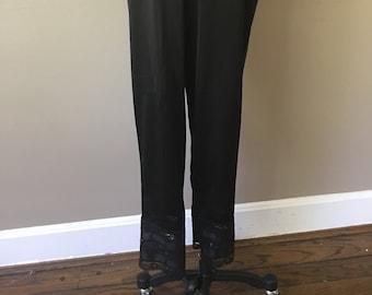 791ab69600dc Vintage Black Nylon Long Pettipants, Velrose Size Medium