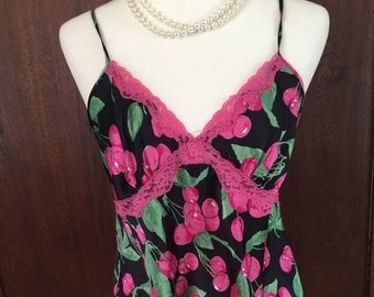 L/ Victoria's Secret/ Babydoll/Cherries/Pink and Black/Large