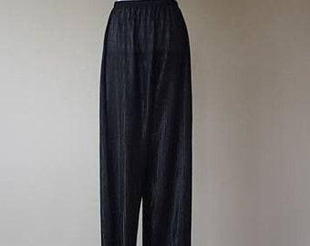 L / Frederick's of Hollywood / Sleep Pants / Pajama Pants / Black Nylon / Large