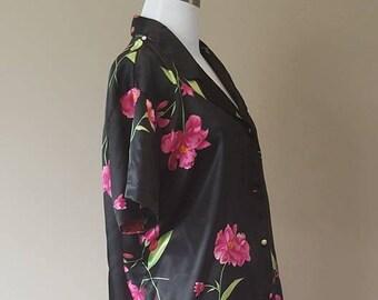 L / Pajama Set / Black Floral Pattern / Large