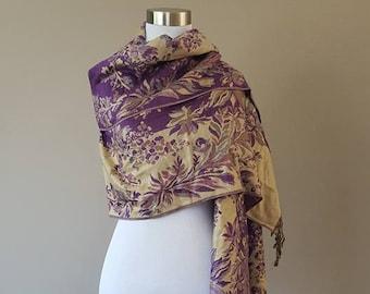 Scarf / Wool Blend / Purple and Beige Pattern